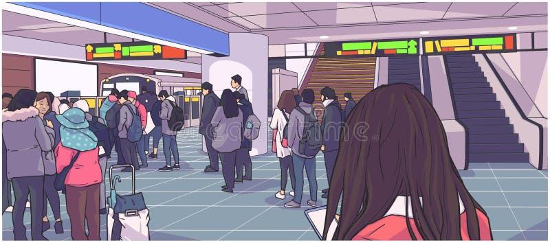 Illustration de souterrain occupé, métro, station souterraine, de train avec des personnes attendant, se tenant dans la ligne sur illustration stock