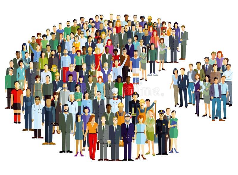 Illustration de statistiques de graphique circulaire de personnes illustration stock