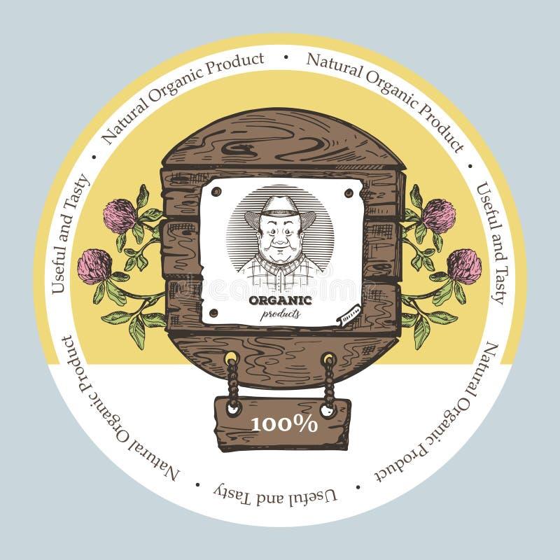 Illustration de style de croquis Approprié à la conception des produits naturels et des cosmétiques Fond rond illustration libre de droits
