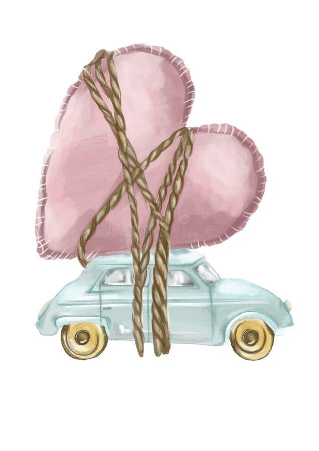 Illustration de style d'aquarelle d'une voiture de jouet avec un coeur attaché là-dessus sur le fond blanc plat illustration stock