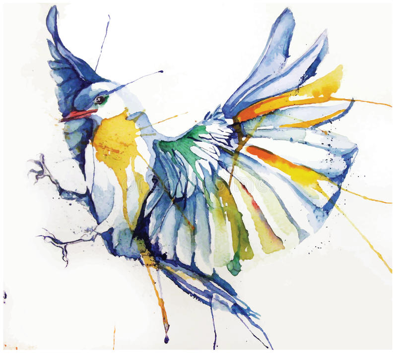 illustration de style de l'aquarelle de vecteur d'oiseau illustration stock