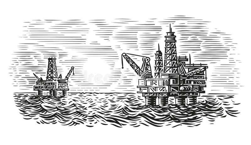 Illustration de style de gravure de plate-forme de pétrole marin Forage de pétrole de mer Vecteur photo stock
