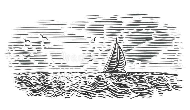 Illustration de style de gravure de vue de mer Vecteur, d'isolement, posé photographie stock