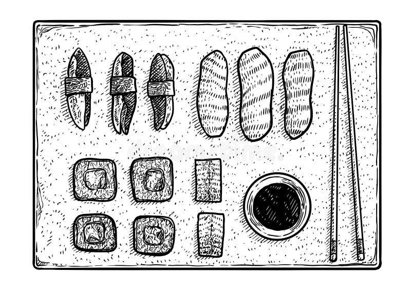 Illustration de sushi, dessin, gravure, encre, schéma, vecteur illustration libre de droits