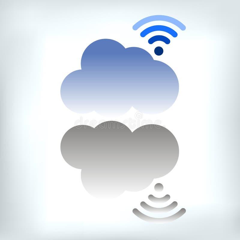 Illustration de symbole réglé d'icône de vecteur de nuage illustration libre de droits