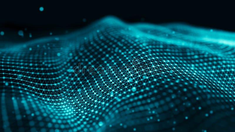 Illustration de technologie de données Ondulez avec les points et les lignes se reliants sur le fond foncé Vague des particules r image stock