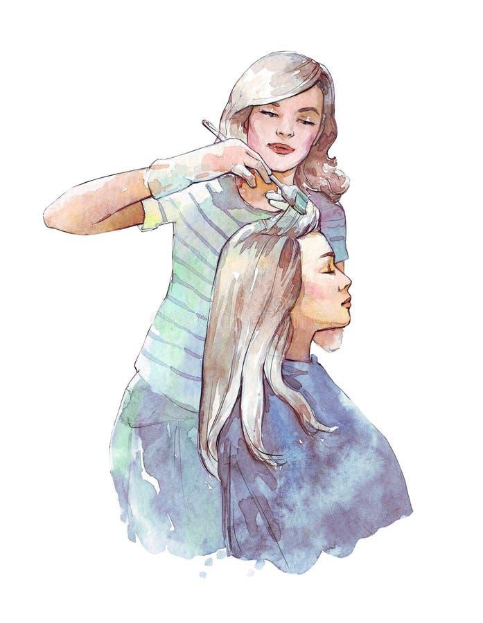 Illustration de teinture d'aquarelle de cheveux de styliste en coiffure illustration libre de droits