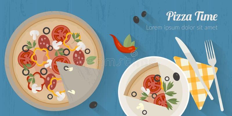 Illustration de temps de cuisson de vecteur avec les icônes plates Nourriture fraîche et matériaux sur la table de cuisine dans l illustration de vecteur