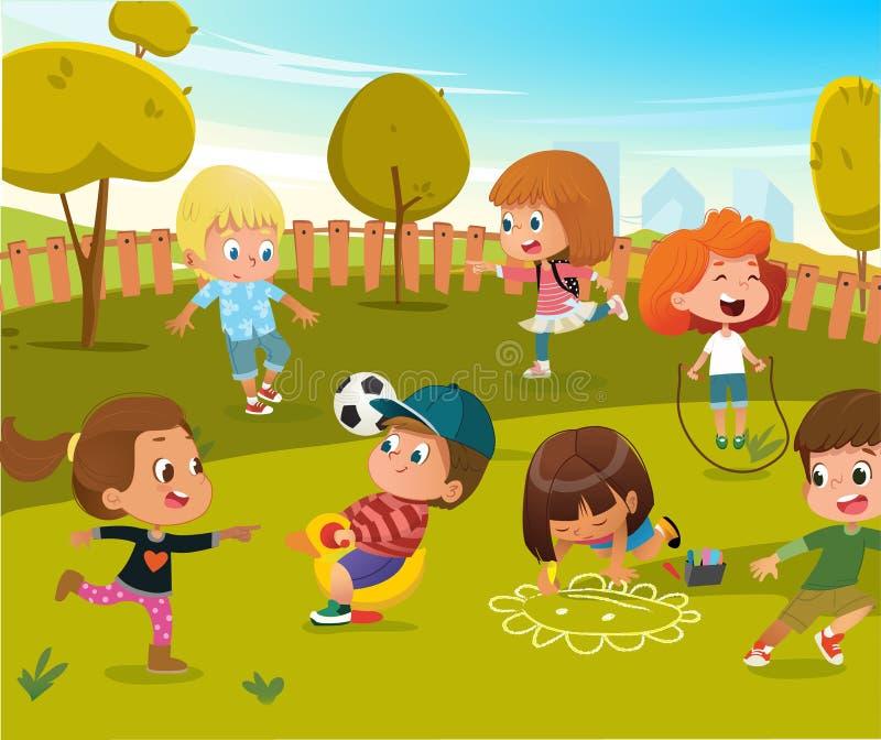 Illustration de terrain de jeu de jardin d'enfants de jeu de bébé Les enfants jouent au football et balancent extérieur en parc d illustration de vecteur