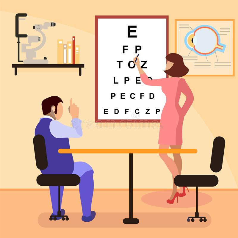Illustration de Testing Eyesight Flat d'ophtalmologue illustration de vecteur