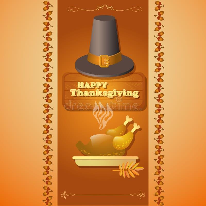 Illustration de thanksgiving de chapeau, de dinde de rôti et de glands illustration stock
