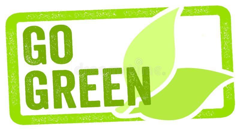 Illustration de timbre avec des feuilles et aller verdir images libres de droits