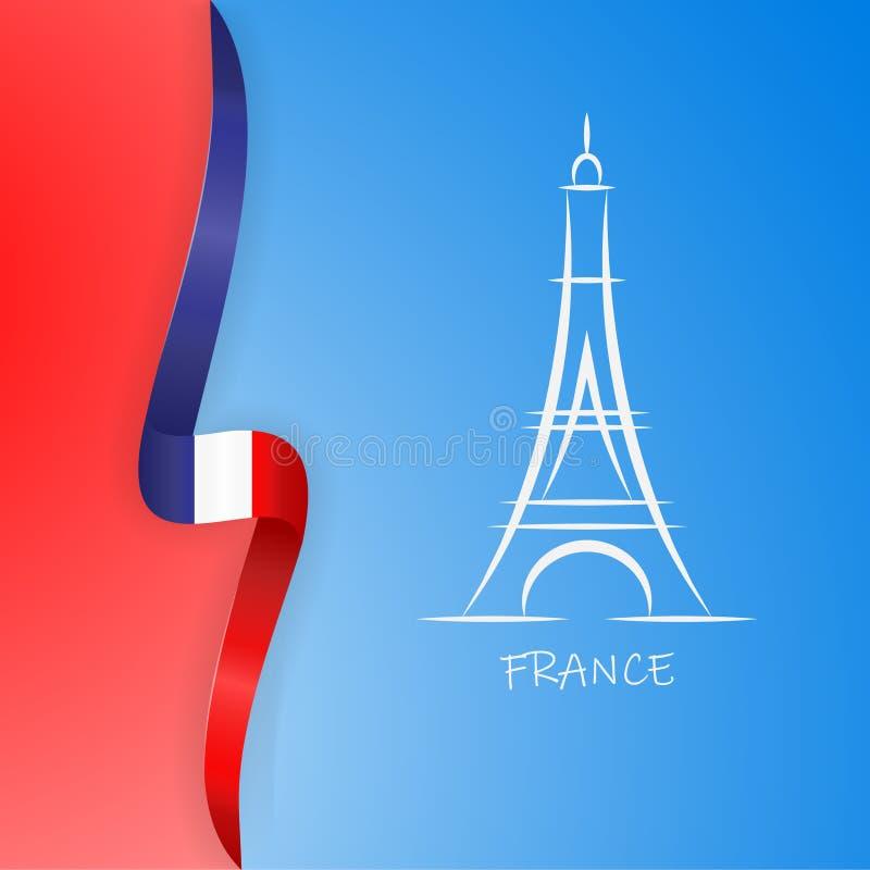 Illustration de Tour Eiffel de Paris avec le drapeau du pays France Illustration de vecteur illustration de vecteur