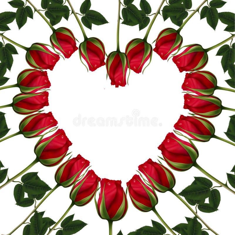 Illustration de trame - vue en forme de coeur de roses rouges - carte postale illustration stock