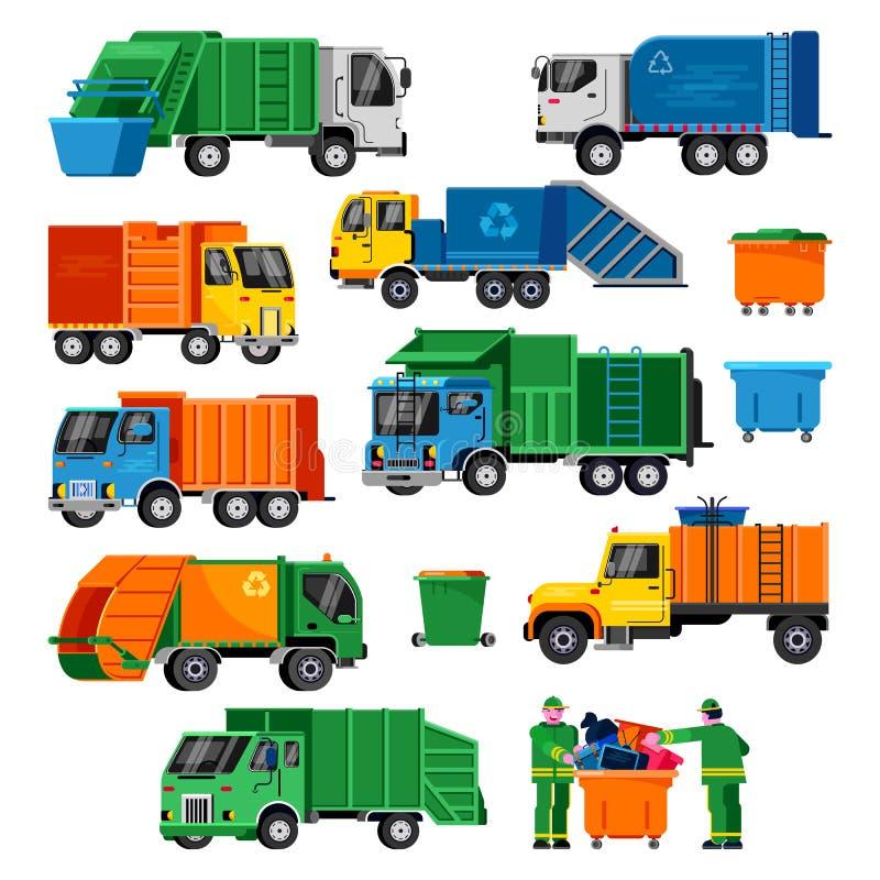 Illustration de transport de véhicule de déchets de vecteur de camion à ordures réutilisant l'ensemble de rebut de nettoyage prop illustration de vecteur