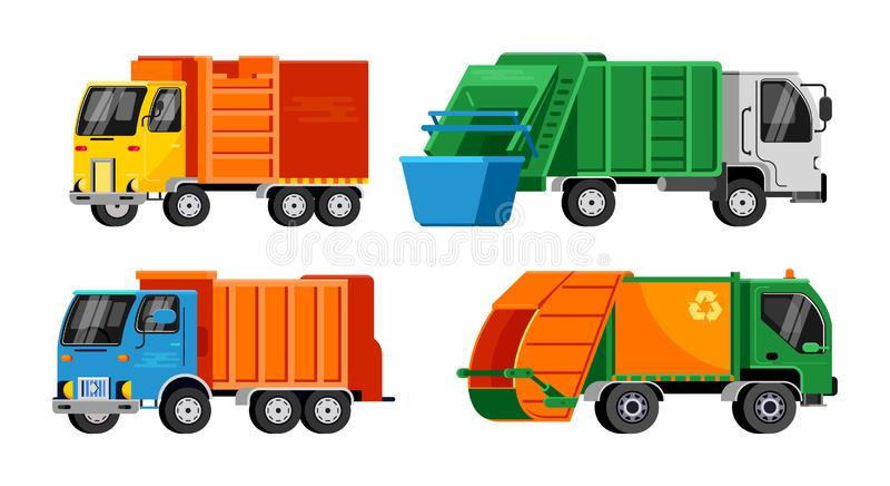 Illustration de transport de véhicule de déchets de vecteur de camion à ordures réutilisant le nettoyage propre de rebut d'indust illustration libre de droits