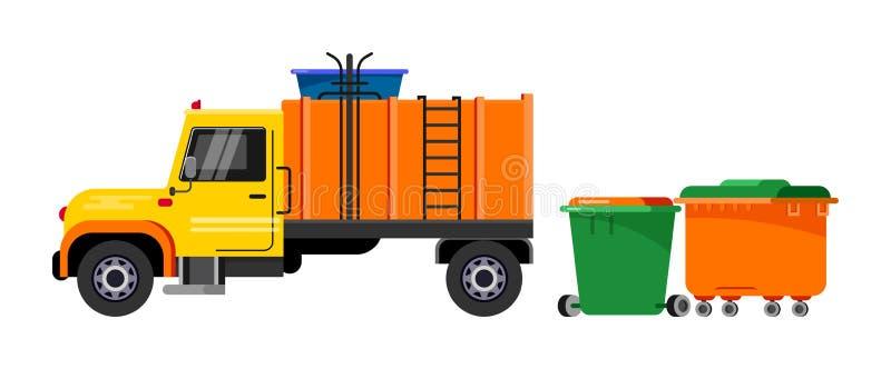 Illustration de transport de véhicule de déchets de vecteur de camion à ordures réutilisant le nettoyage propre de rebut d'indust illustration stock