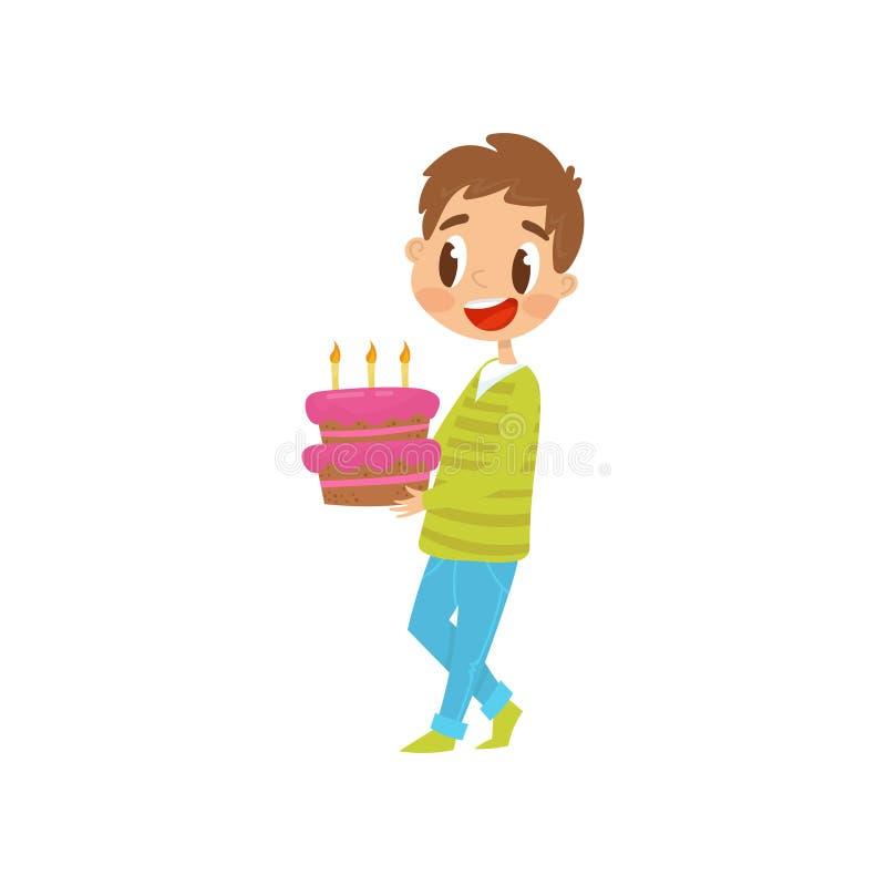 Illustration de transport de vecteur de bande dessinée de gâteau d'anniversaire de garçon mignon sur un fond blanc illustration de vecteur