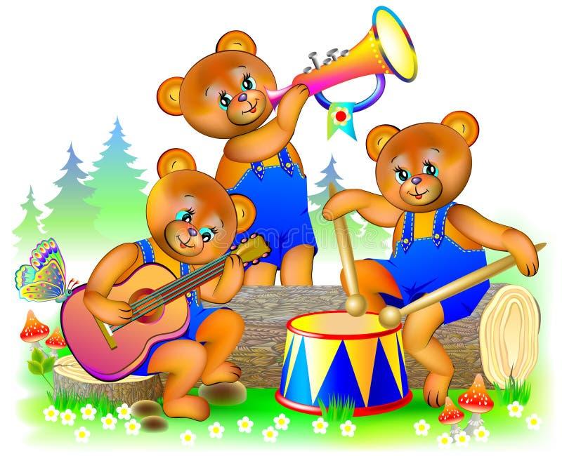 Illustration de trois peu d'ours de nounours jouant des instruments de musique dans l'orchestre illustration stock