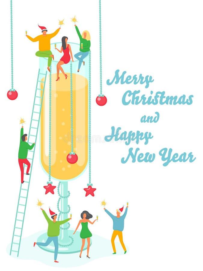 Illustration de vacances de bonne année de Joyeux Noël Les gens ayant l'amusement à la partie illustration libre de droits