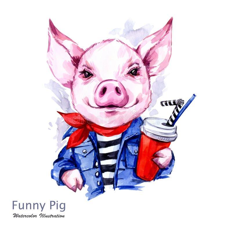 Illustration de vacances d'été Porc de bande dessinée d'aquarelle dans la veste de jeans avec la boisson Week-end drôle Mode Symb illustration libre de droits