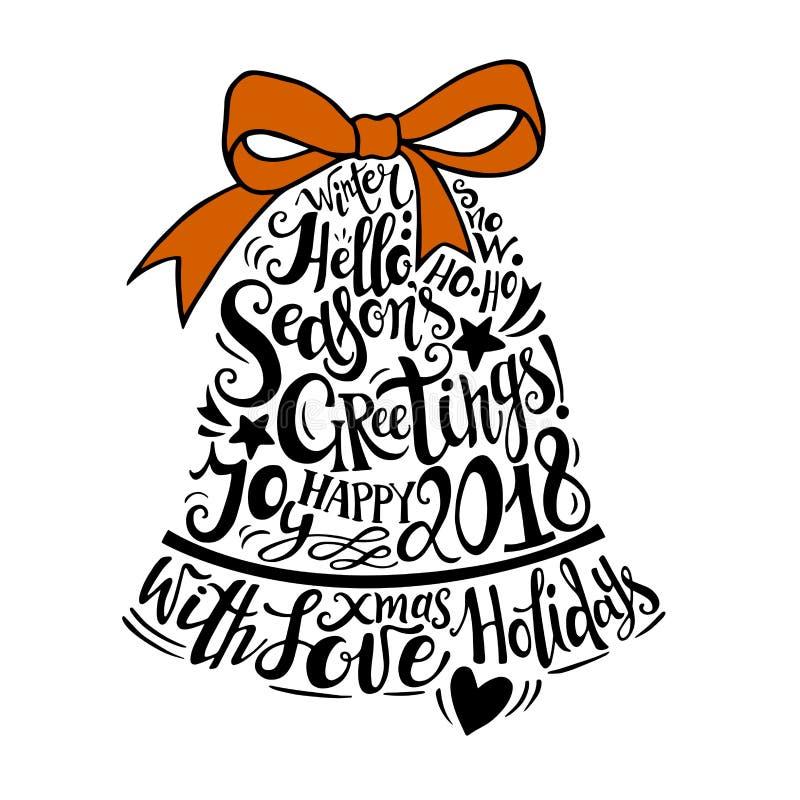Illustration de vacances d'hiver de vecteur Cloche de silhouette de Noël avec le lettrage de salutation illustration libre de droits