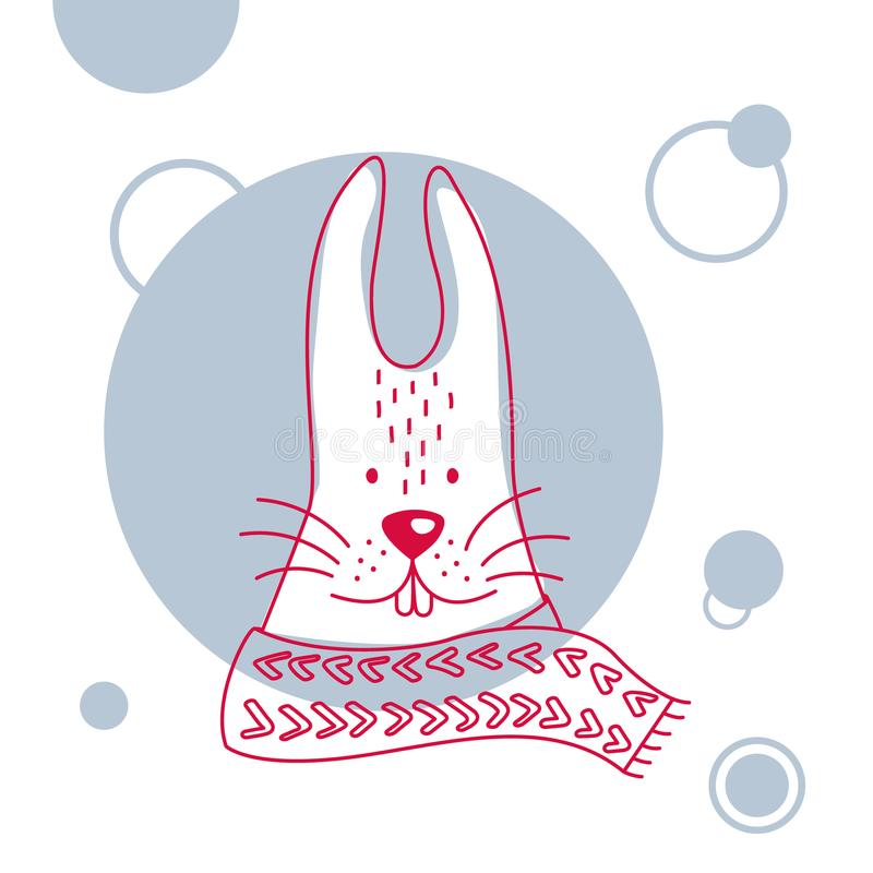 Illustration de vacances et de Noël d'un lapin mignon dans l'écharpe illustration stock