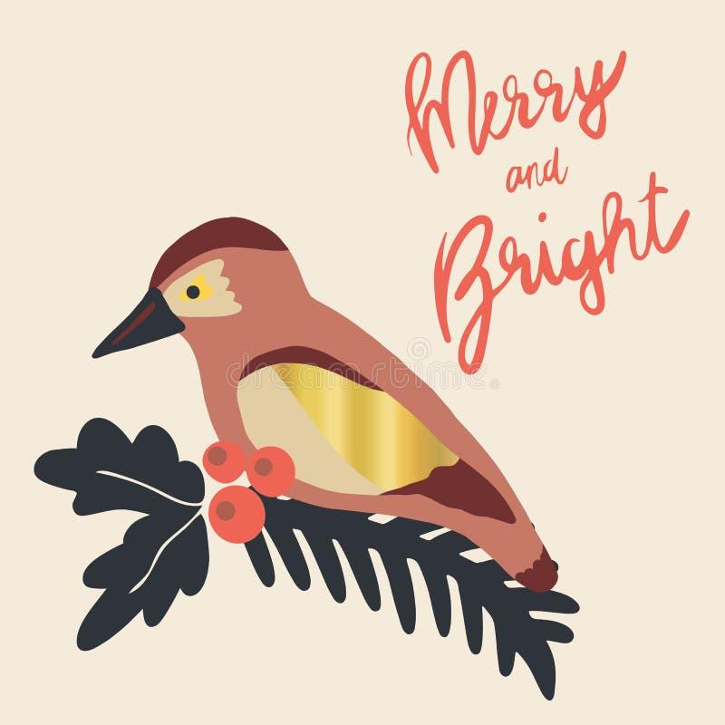 Illustration de vacances de Noël joyeuse et lumineuse Branc de gui illustration stock