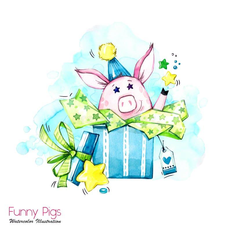 Illustration de vacances de salutation Porc de bande dessinée d'aquarelle dans le boîte-cadeau avec des étoiles et des confettis  illustration libre de droits