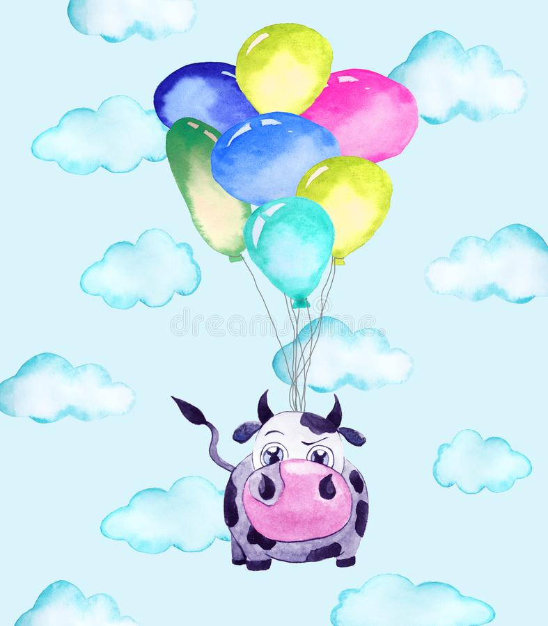 Illustration de vache et de ballons illustration stock