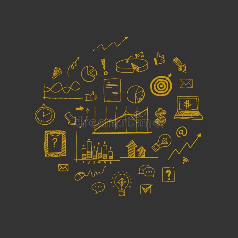 Illustration de vecteur : Éléments de griffonnage d'aspiration de main des concepts au sujet des affaires illustration libre de droits