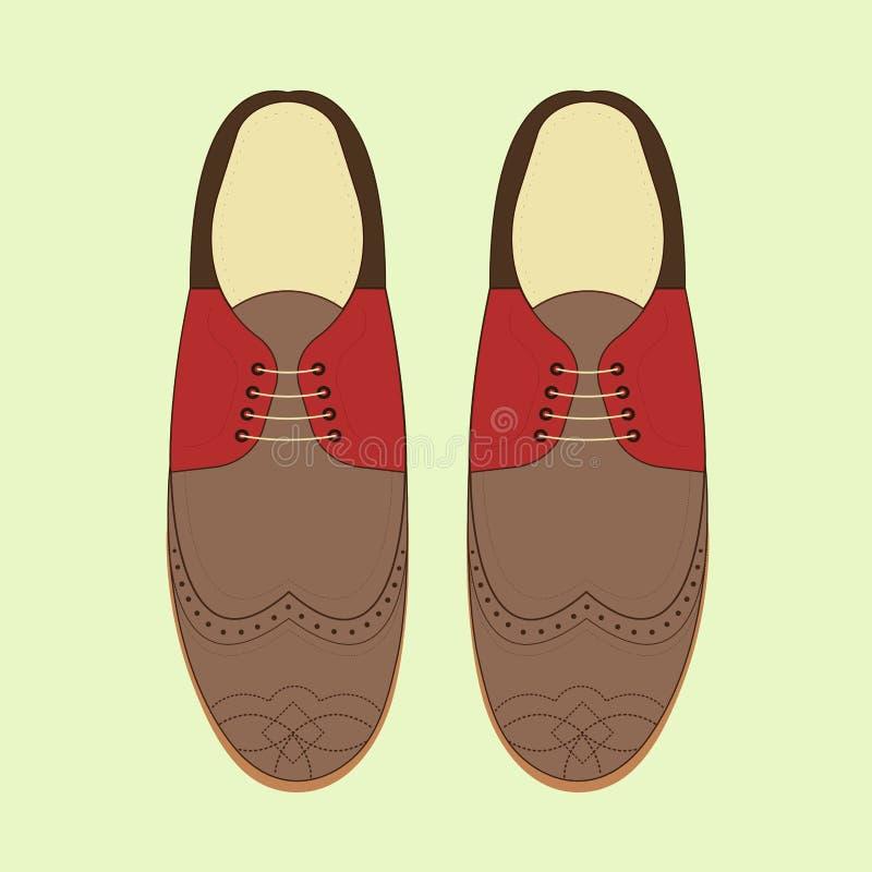 Illustration de vecteur avec des chaussures de mode des hommes Chaussures classiques de brogue illustration stock