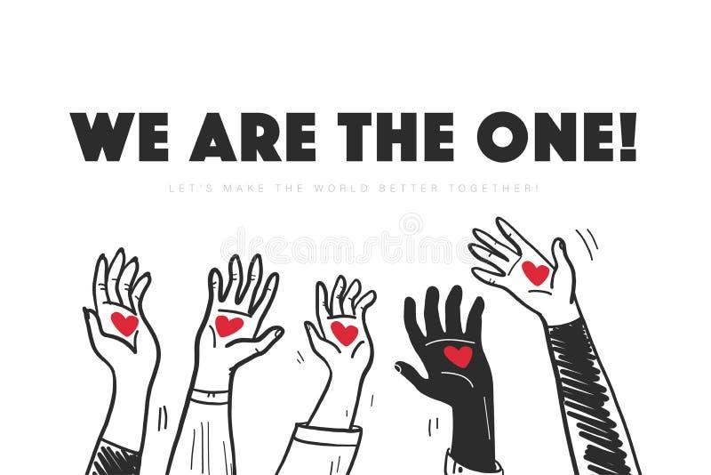 Illustration de vecteur avec des mains vers le haut des coeurs de prise d'isolement sur le fond blanc illustration libre de droits