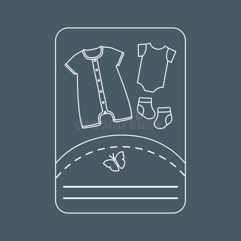 Illustration de vecteur avec des vêtements de bébé Glissement, chaussettes illustration stock