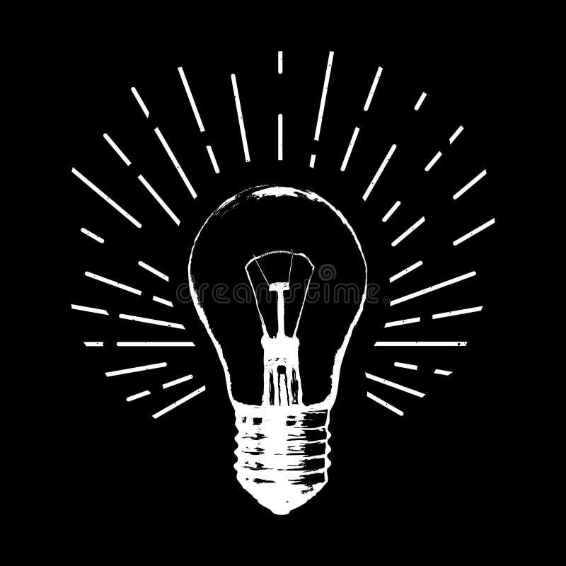 Illustration de vecteur avec l'ampoule Style moderne de croquis de hippie Id?e et pens?e cr?ative illustration libre de droits