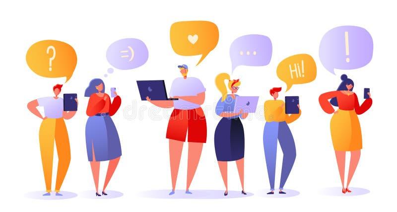Illustration de vecteur avec l'ensemble de caractères plats de personnes causant dans les réseaux sociaux illustration de vecteur