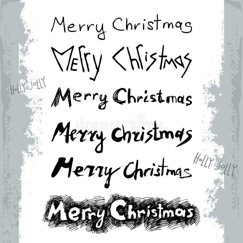 Illustration de vecteur avec l'ensemble de lettrage de Joyeux Noël dans le style grunge d'isolement sur le fond blanc illustration de vecteur