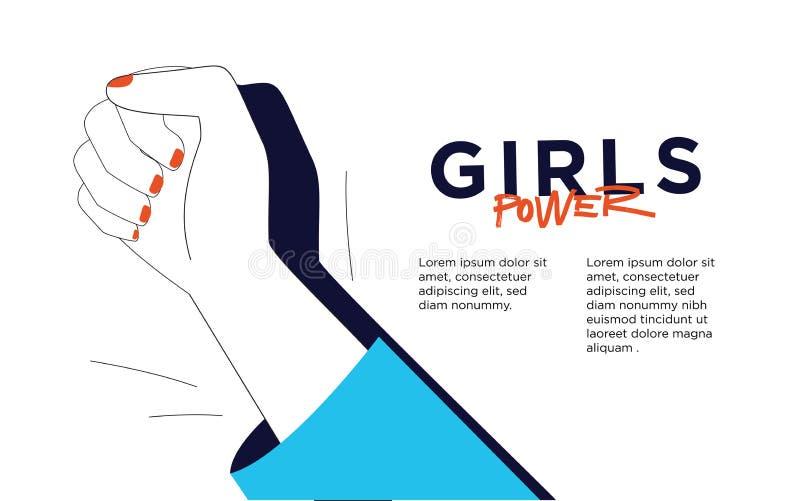 Illustration de vecteur avec l'expression de main-lettrage - puissance de fille - copie élégante pour l'affiche ou le T-shirt - c illustration de vecteur
