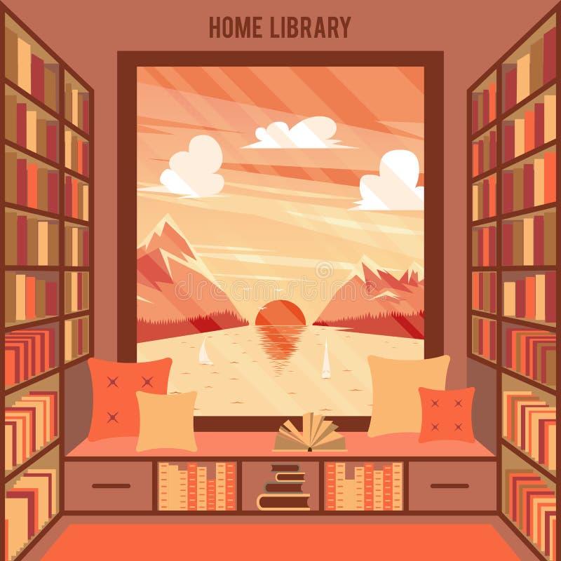 Illustration de vecteur avec la bibliothèque à la maison illustration de vecteur