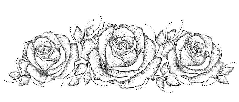 Illustration de vecteur avec la fleur et les feuilles roses pointillées par trois dans le noir sur le fond blanc Les éléments flo illustration de vecteur