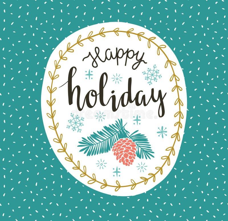 Illustration de vecteur avec la guirlande de Noël et le lettrage - ` heureux de vacances de ` illustration libre de droits