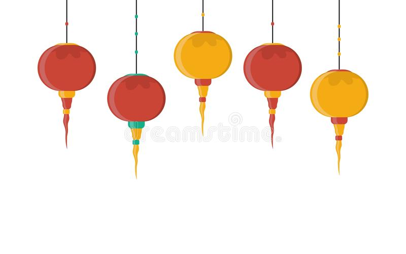 Illustration de vecteur avec la lanterne chinoise Fond rouge décoratif illustration libre de droits