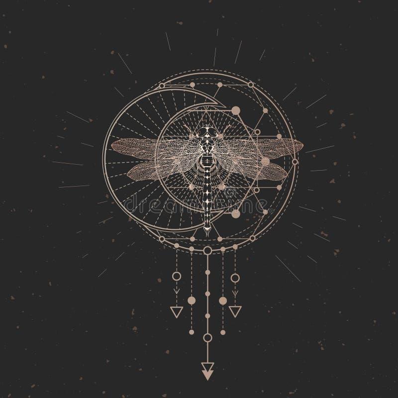 Illustration de vecteur avec la libellule tirée par la main et symbole géométrique sacré sur le fond noir de cru Signe mystique a illustration de vecteur