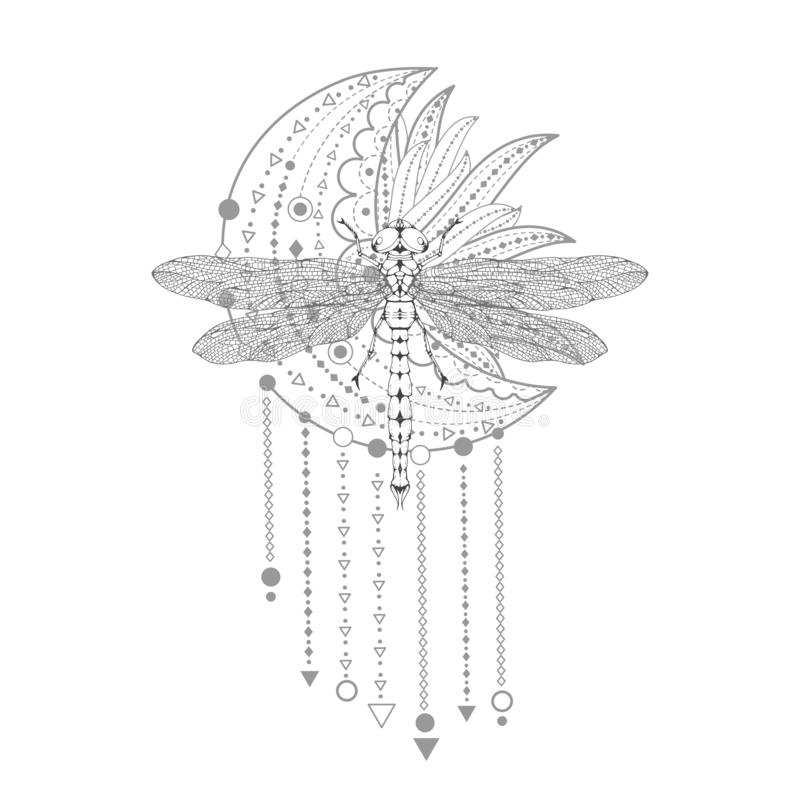 Illustration de vecteur avec la libellule tir?e par la main et symbole sacr? sur le fond blanc Signe mystique abstrait Forme lin? illustration de vecteur