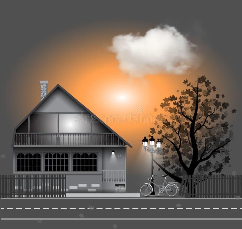 Illustration de vecteur avec la maison, bycicle Arbre d'automne illustration de vecteur