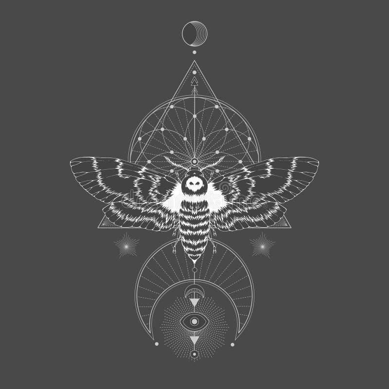 Illustration de vecteur avec la mite principale morte tirée par la main et symbole géométrique sacré sur le fond noir de cru illustration stock