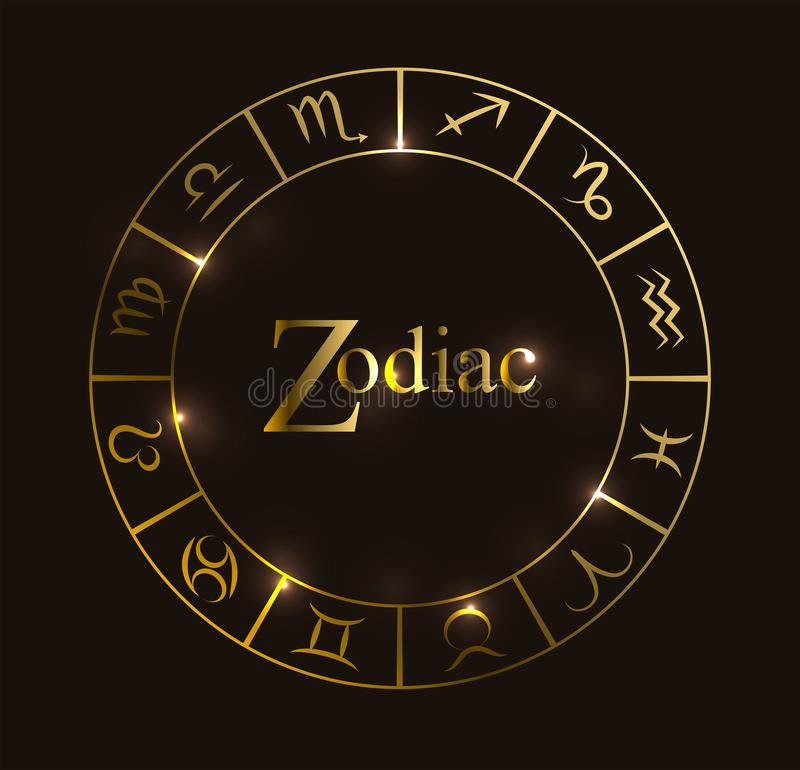 Illustration de vecteur avec le cercle d'horoscope, les symboles de zodiaque et les éléments abstraits Éléments d'or illustration stock