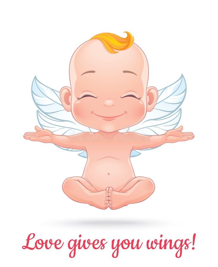 Illustration de vecteur avec le cupidon heureux de bébé illustration libre de droits