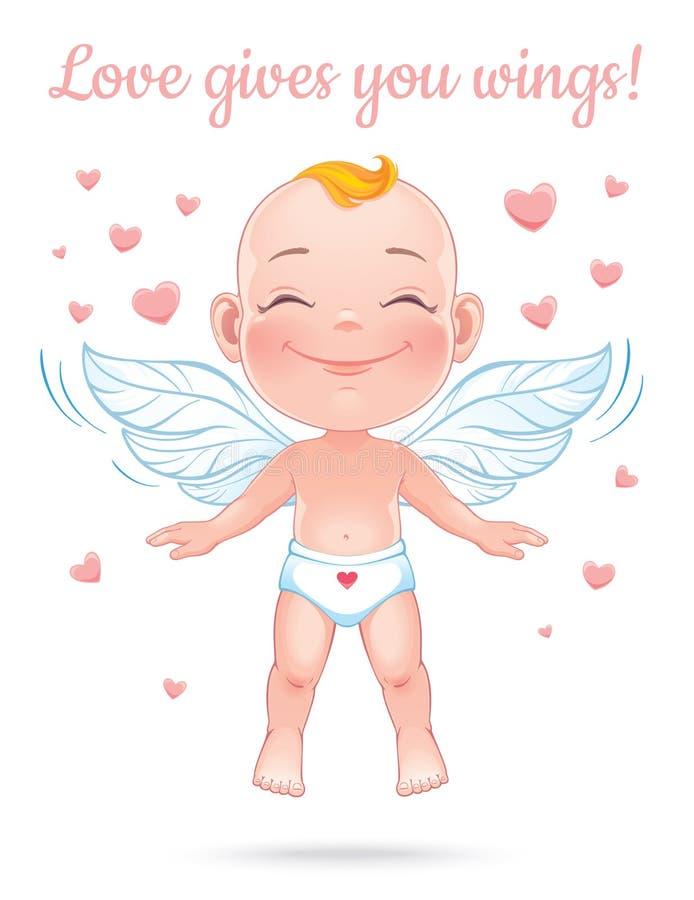 Illustration de vecteur avec le cupidon heureux de bébé illustration stock