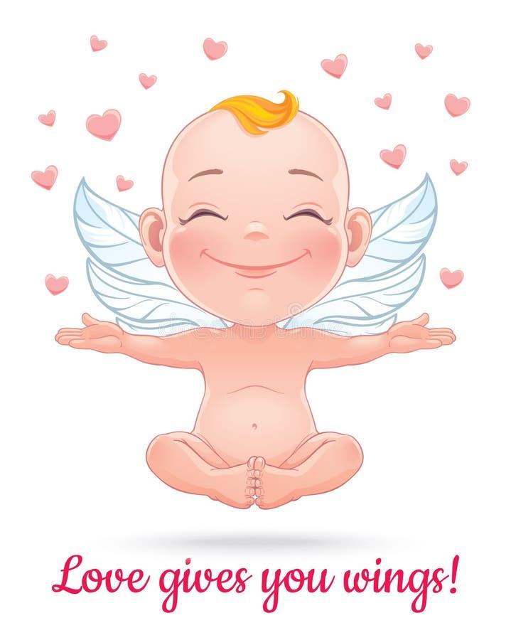 Illustration de vecteur avec le cupidon heureux de bébé illustration de vecteur